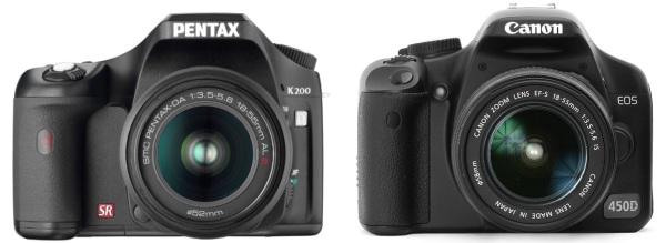 Digitālo spoguļkameru pavasaris sācies! Pentax K200D, Canon 450D