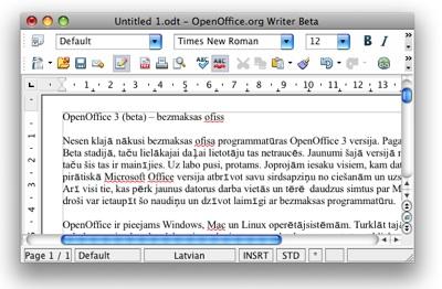 OpenOffice 3 (beta) – bezmaksas ofiss