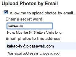 Ielādē bildes Picasa Web albumos ar e-pastu