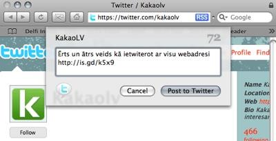 TwitterBar un Safari140 - twittero tieši no pārlūka