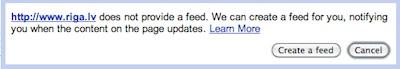 Google Reader izveido RSS kur tā nav