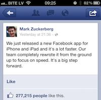 Facebook atjaunina iOS aplikāciju