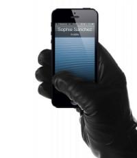 Ādas cimdi skārienjūtīgajiem telefoniem