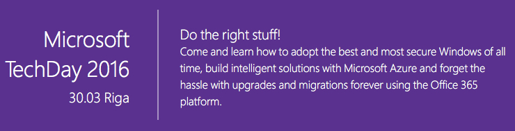Piesakies Microsoft TechDay 2016 konferencei!